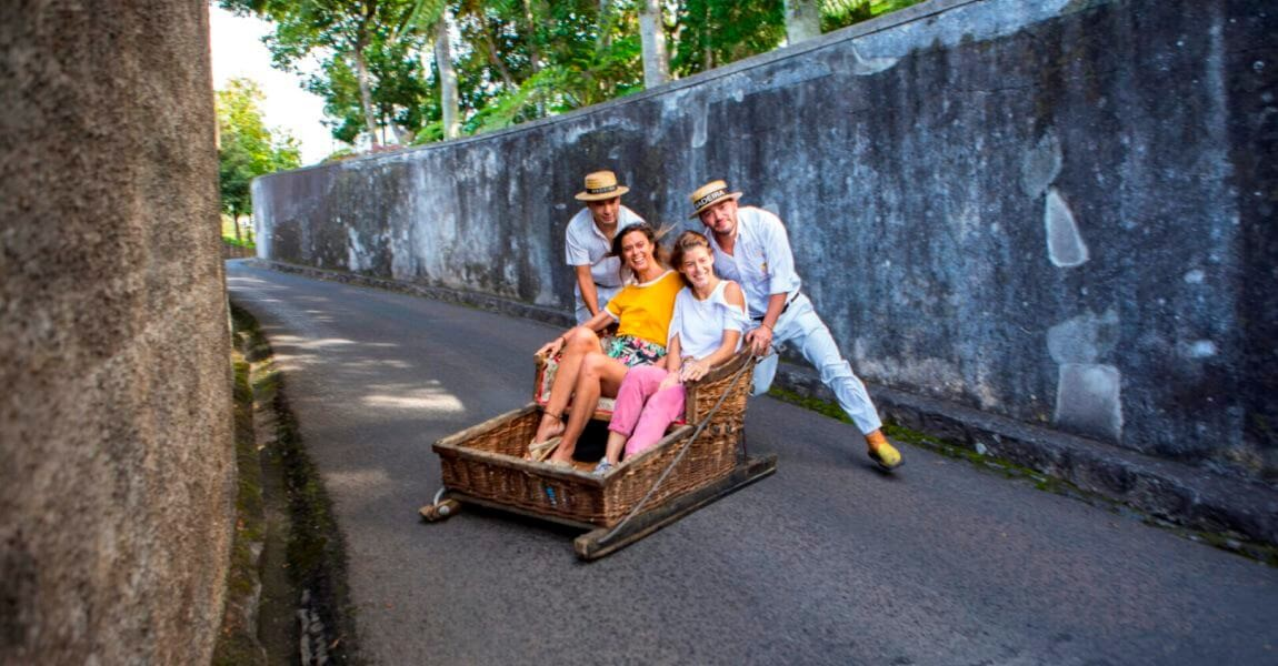 Madeira Toboggan Ride on Traditional Wicker Basket Sledges